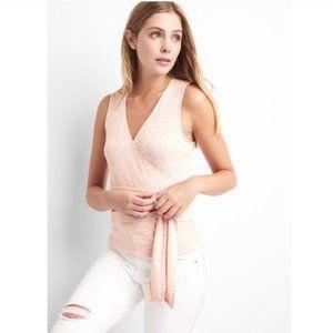 GAP Softspun Pink Fine Knit Faux Wrap Sleeveles Blouse V-neck Top w/ Tie Belt L